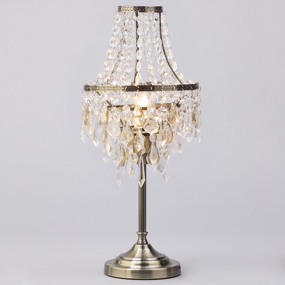 Table Lamp With Crystal Effect Droplet Shade 1 Light
