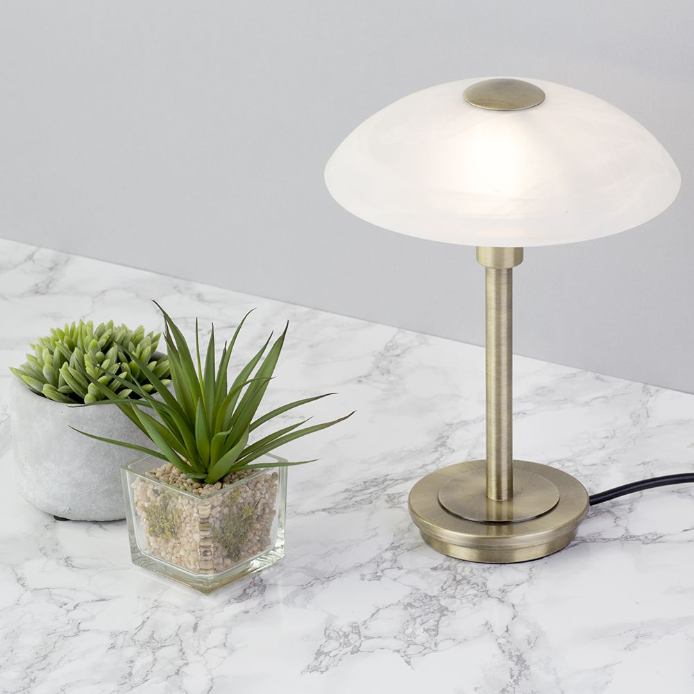 Suculents touch lamps interior study office lighting marble table top desk - 2 Pack Of 1 Light Table Touch Lamp With Alabaster Glass Dome Shade