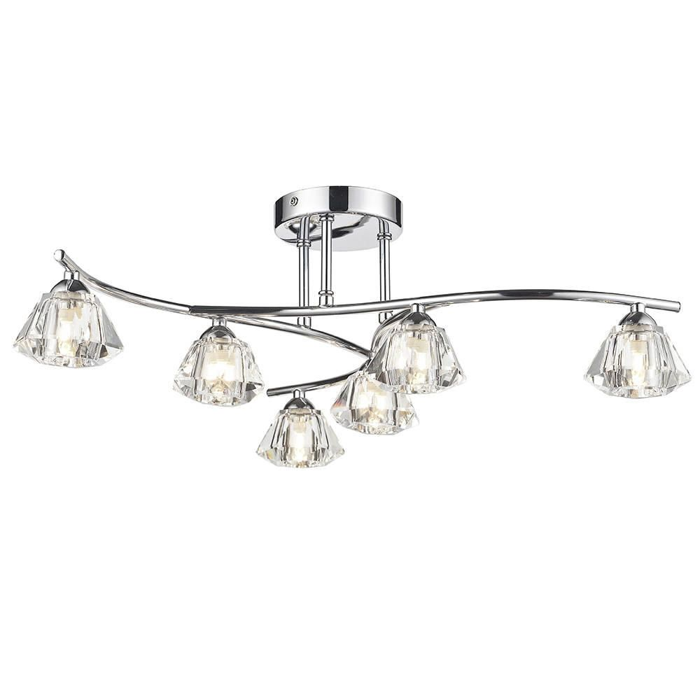 Semi flush ceiling light with diamond shape shades jewel 6 light fastfree delivery mozeypictures Image collections