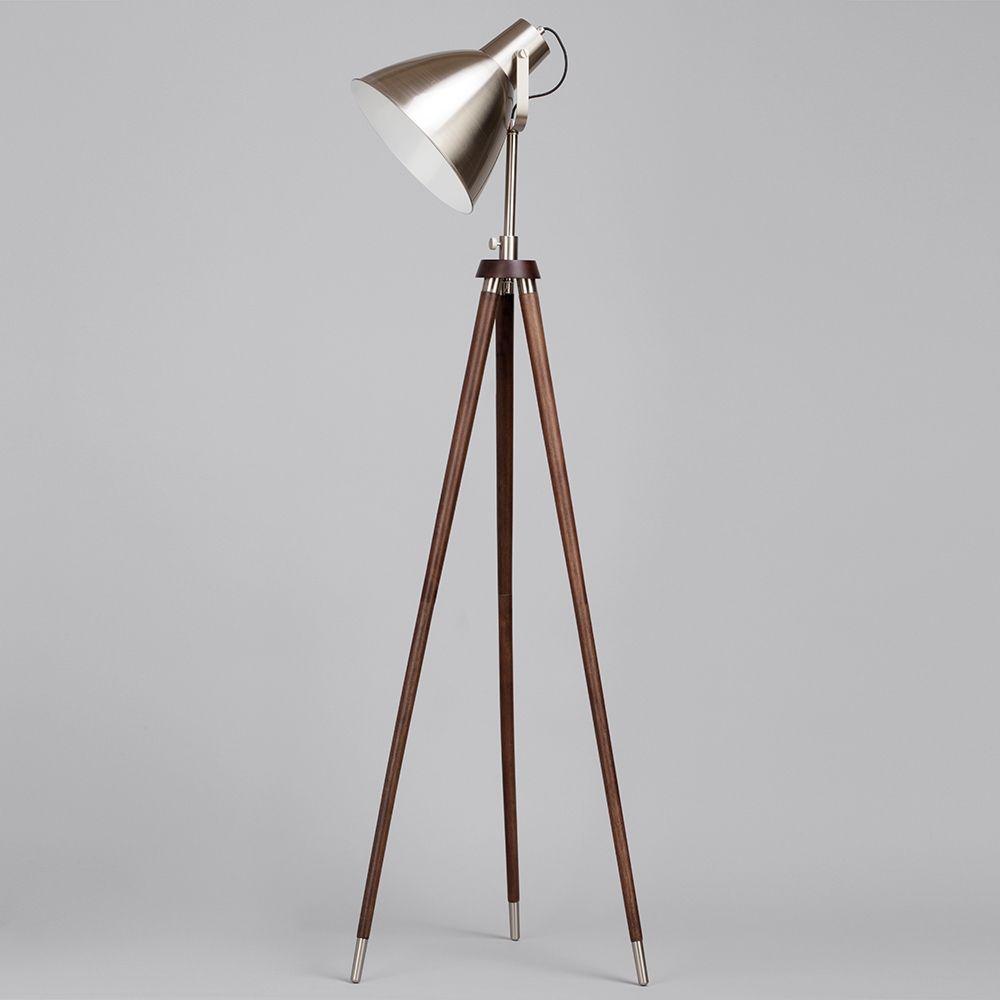 tripod floor lamp satin nickel home bedside parabolic. Black Bedroom Furniture Sets. Home Design Ideas