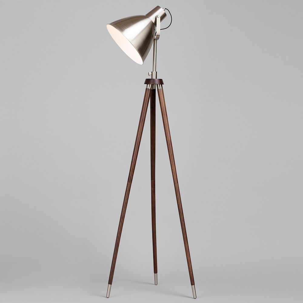 1 light vintage style parabolic tripod floor lamp satin for Giant retro floor lamp the range