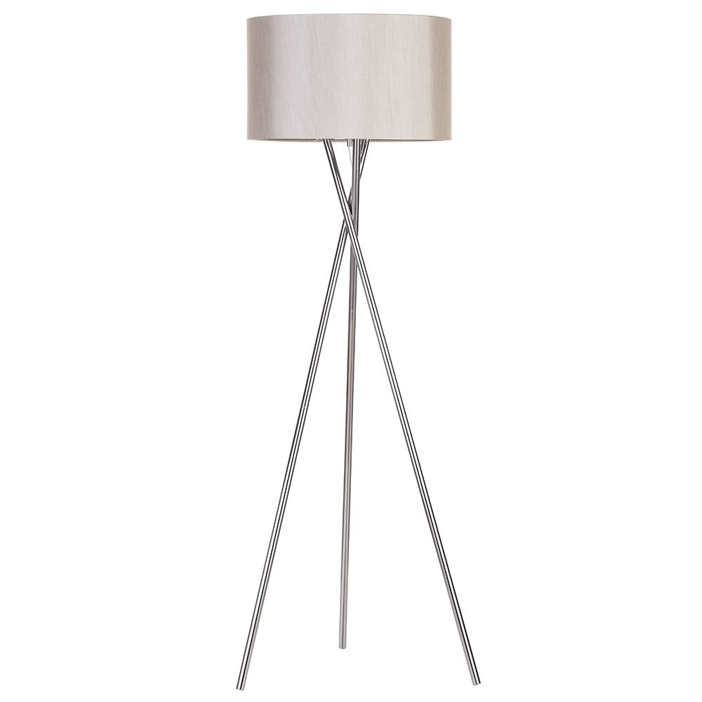 Tripod Floor Lamp with Natural Drum Shade 1 Light Cross Nickel From ...
