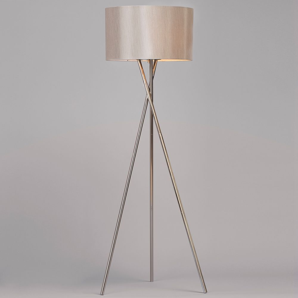 Tripod floor lamp with natural drum shade 1 light cross for Floor lamp natural light