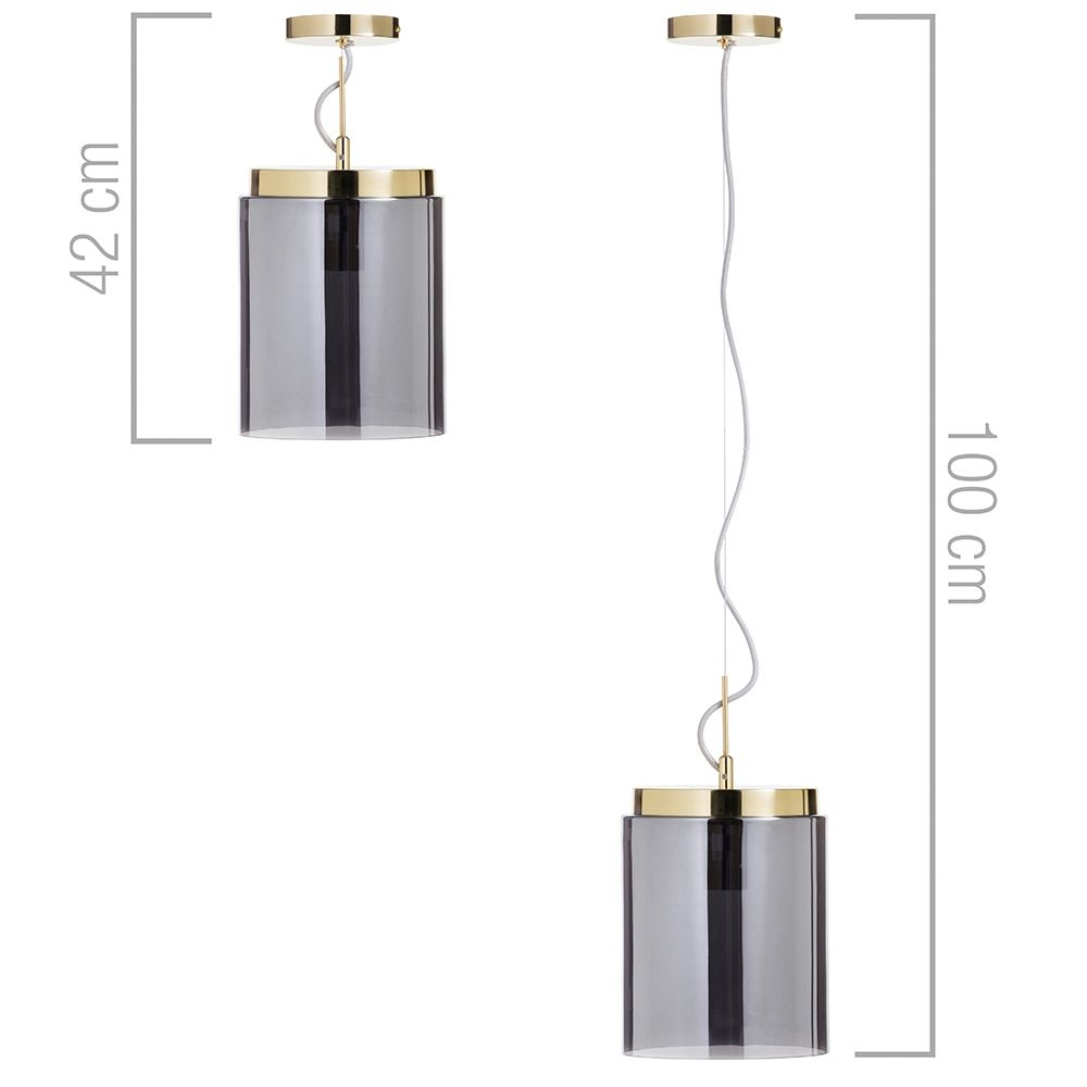 1 Light Mid Century Inspired Ceiling Pendant With Smoke