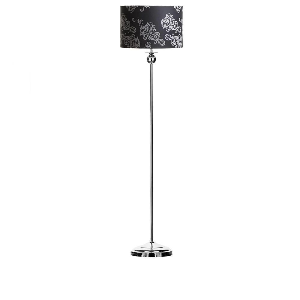 Victoria 1 Light Floor Lamp with Black Silver Floral Shade Chrome