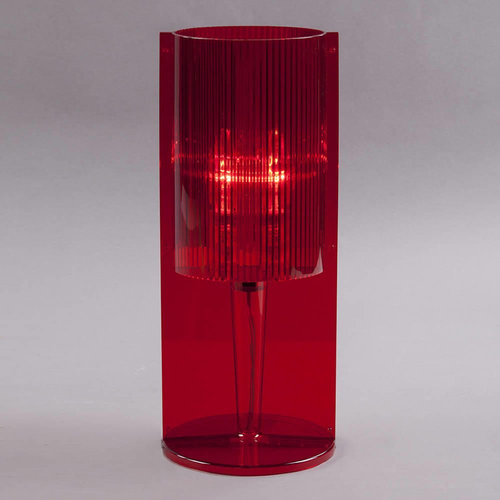 red acrylic ribbed table lamp from litecraft - vibrant red acrylic ribbed table lamp design