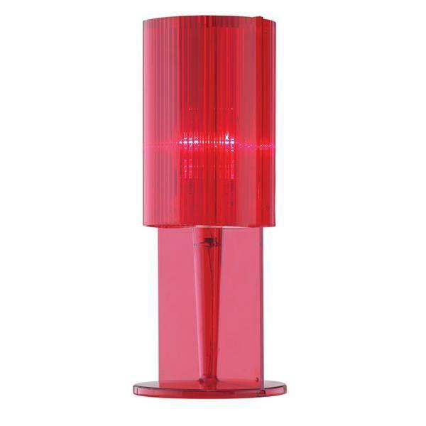 Litecraft Red Acrylic Ribbed Table Lamp