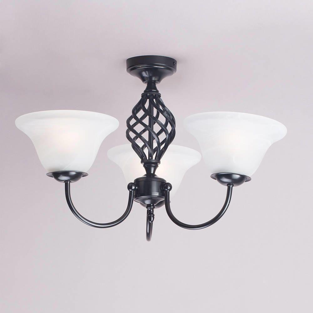 flush ceiling light spiral frosted glass shades 3 light satin