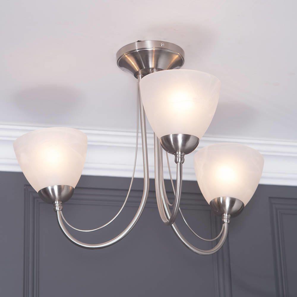 Ceiling light barcelona 3 light satin chrome from litecraft 3 light semi flush ceiling lighting aloadofball Gallery