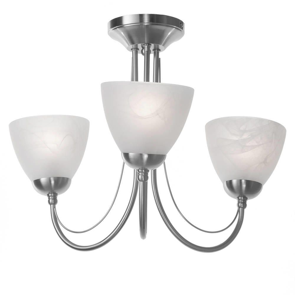 3 Bulb Ceiling Light: Barcelona 3 Arm Ceiling Light - Satin Chrome