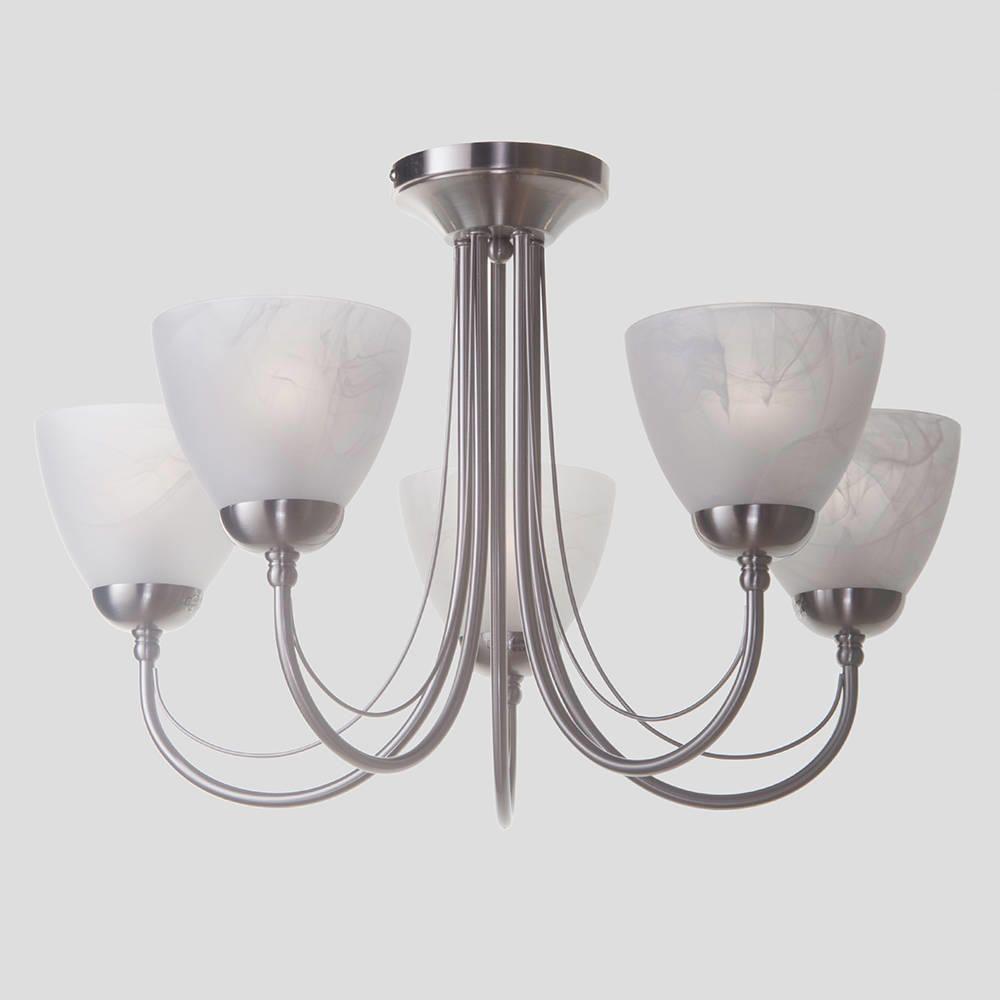 Ceiling Lights Dining Table : Barcelona flush ceiling light satin chrome