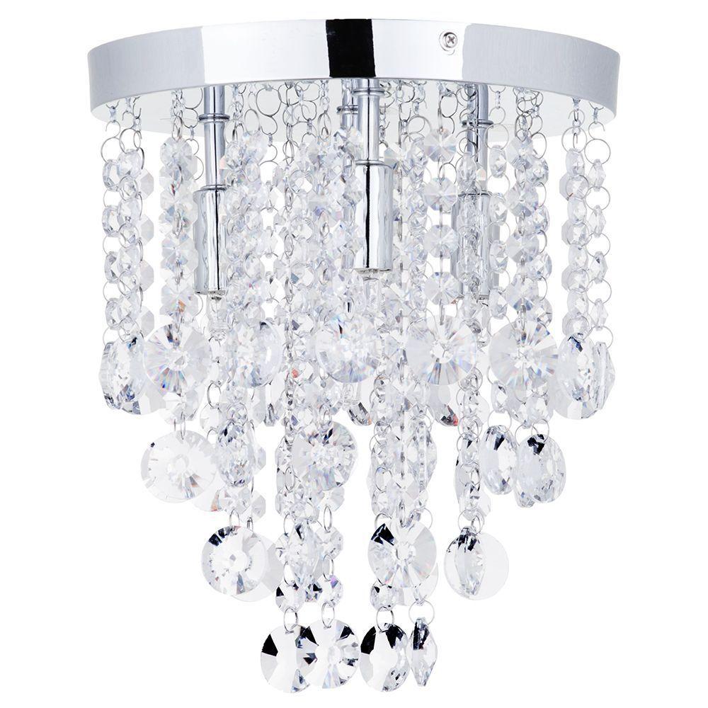 Montego Semi Flush Ceiling Light Crystal Effect - 4 Light - Chrome