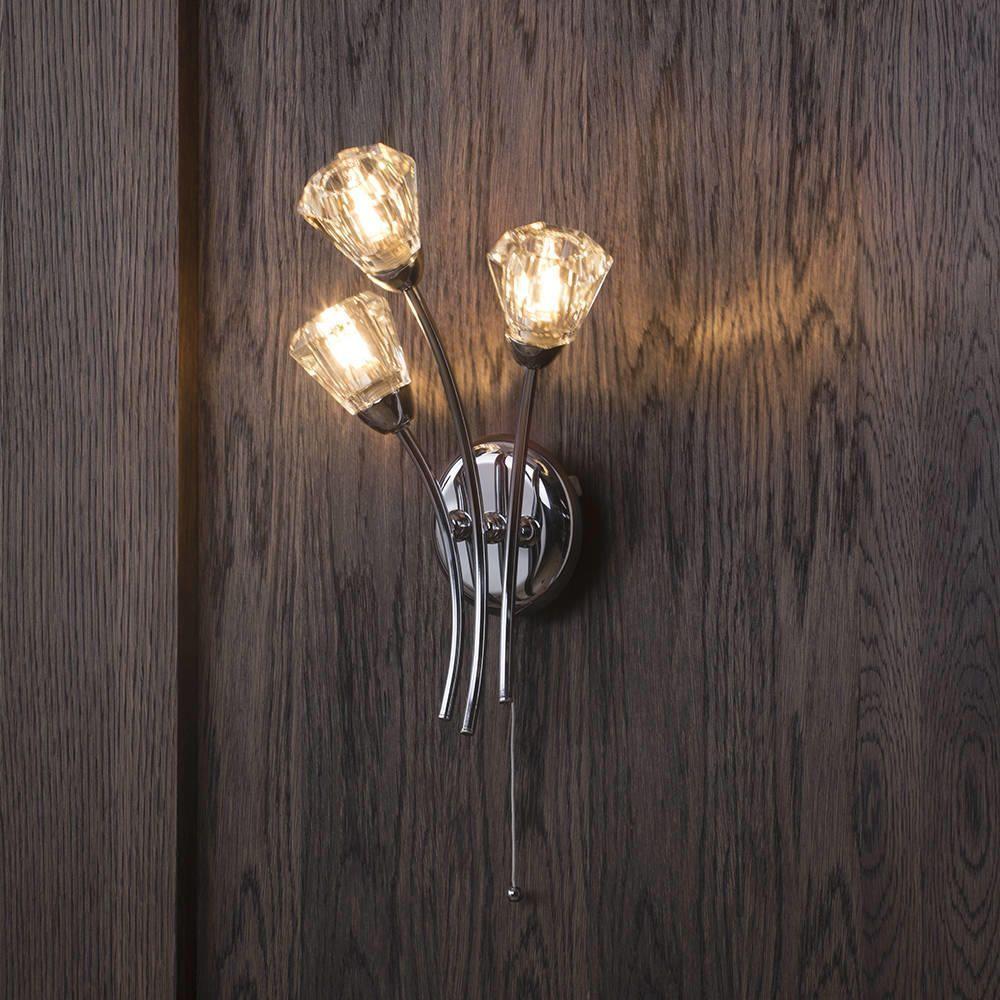 Wall Lights Glass Shades : Diamond Wall Light - 3 Light - Chrome from Litecraft