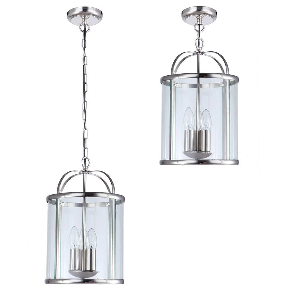 C01 lc1944 3 light hall lantern ceiling pendant polished chrome