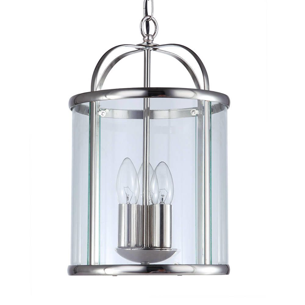 Lantern Ceiling Hall Pendant Light Polished Chrome