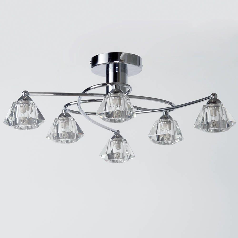 diamond semi flush ceiling light - 6 light - chrome from litecraft