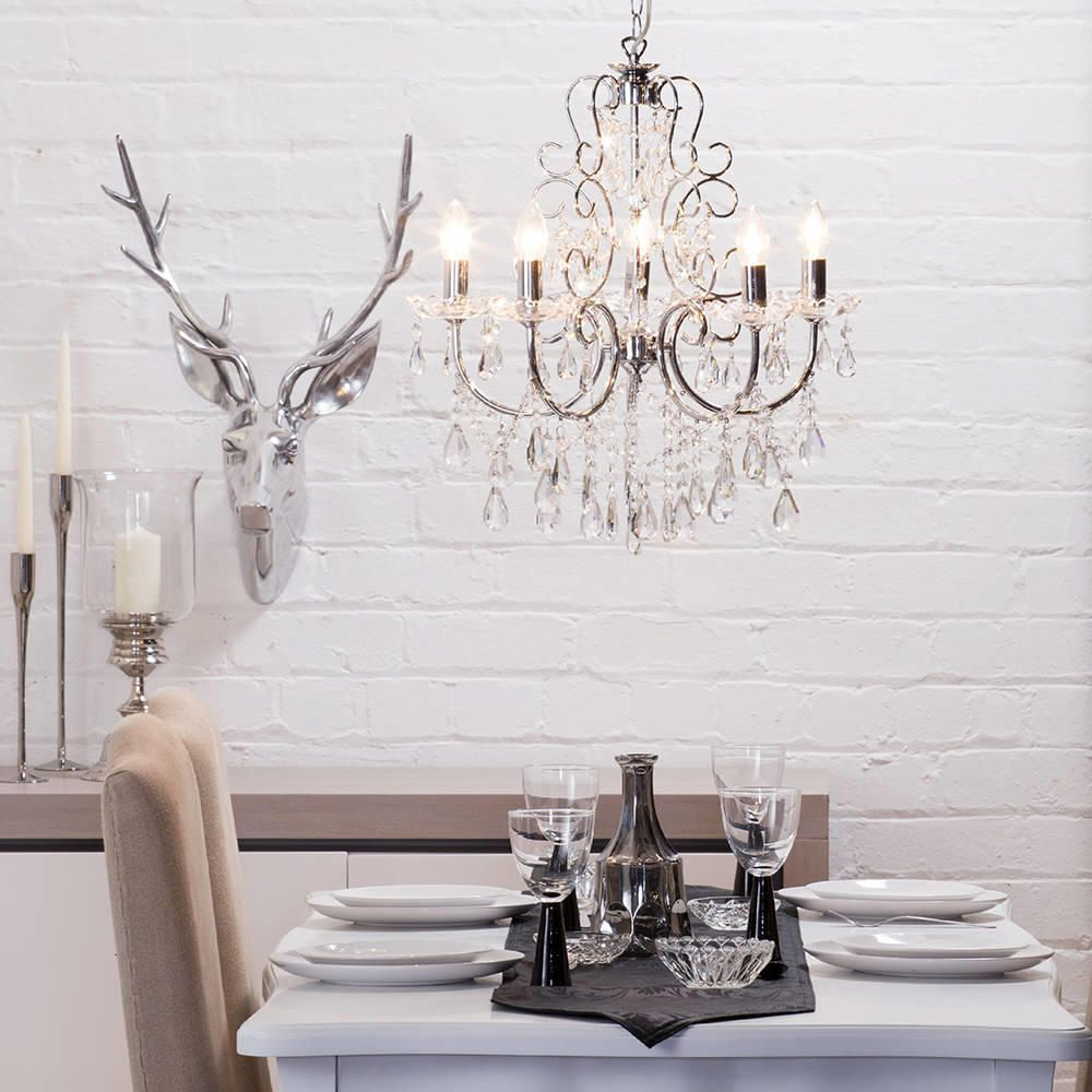 Crystal Chandeliers For Dining Room: Madonna 5 Light Dual Mount Chrome Chandelier