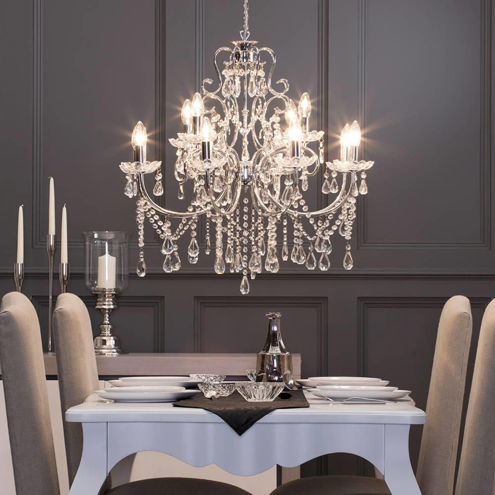 Madonna chandelier 12 light dual mount chrome from litecraft - Dining room crystal chandelier ...
