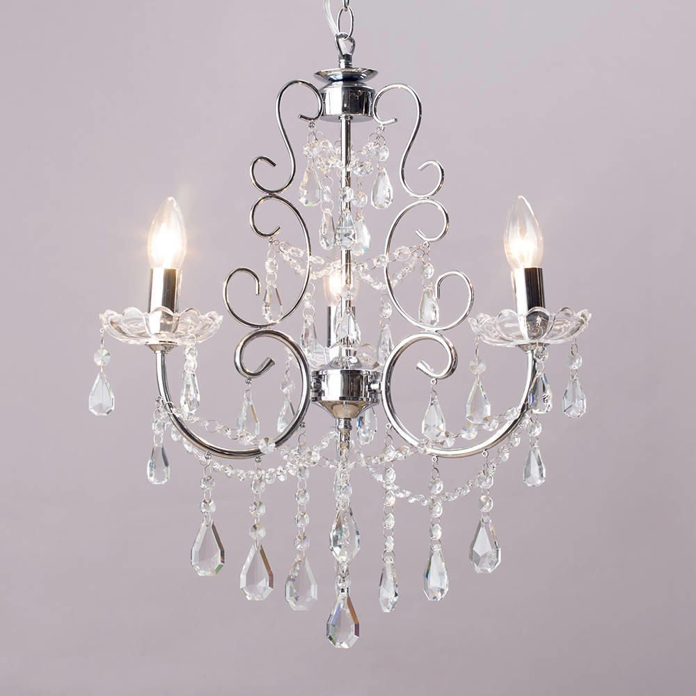 Chandelier madonna 3 light dual mount chrome from litecraft for Lampe style shabby chic