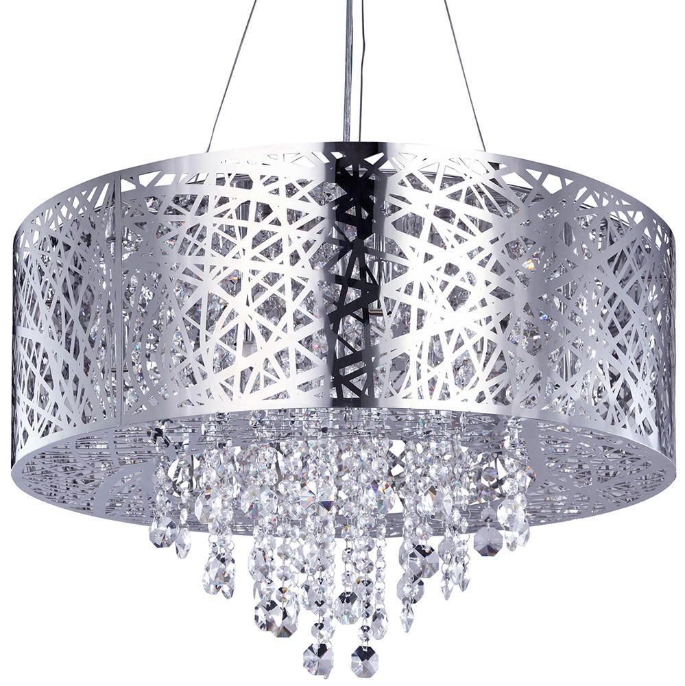 Ashley pendant ceiling light dual mount drum 9 bulb chrome fastfree delivery mozeypictures Image collections