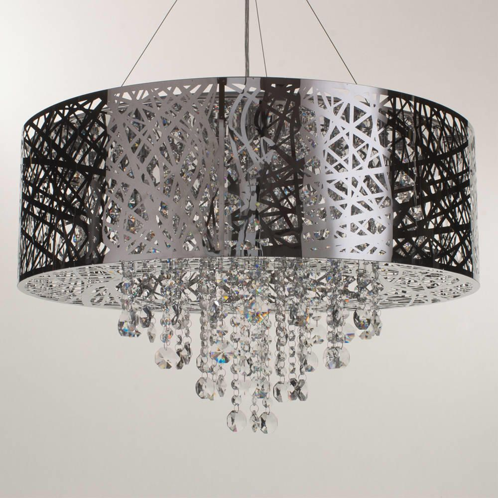 Ashley pendant ceiling light dual mount drum 9 bulb chrome pendant lights high ceiling aloadofball Image collections