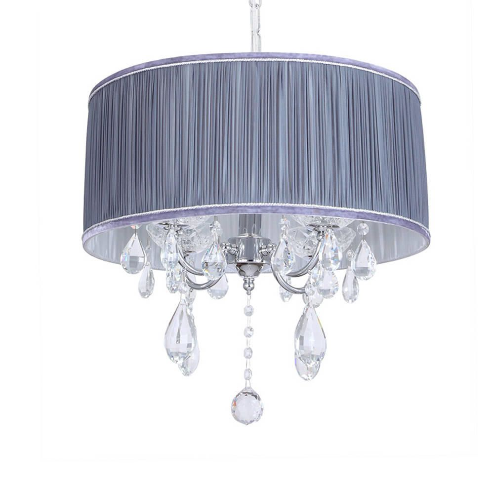 Grey Chandelier Wall Lights : L amour 4 Light Chandelier in Pleated Shade - Grey from Litecraft