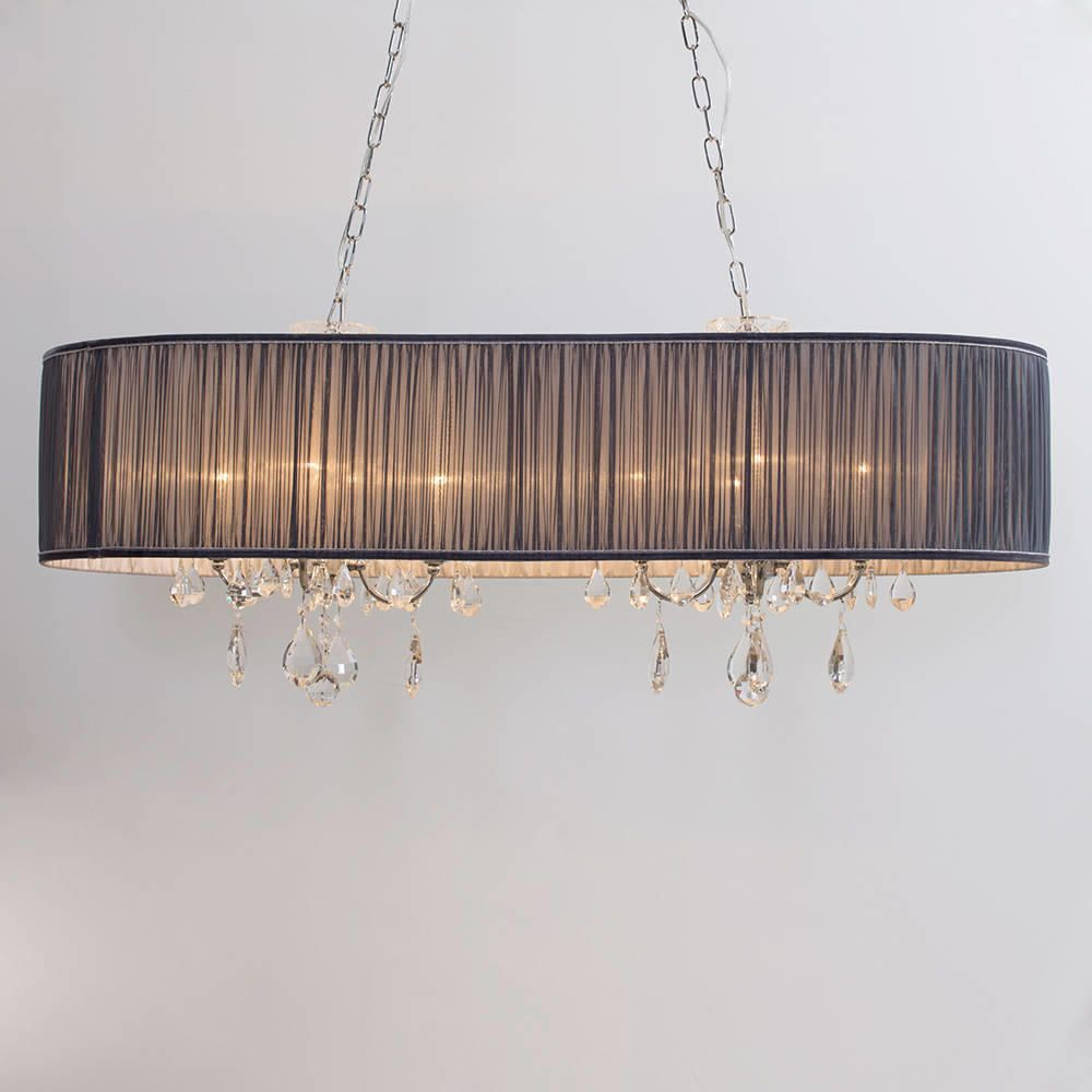 the latest 99b6c ebb56 L'amour 8 Light Double Chandelier in Pleated Shade - Grey