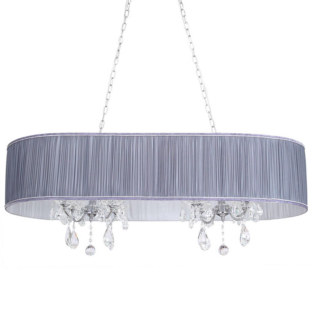l 39 amour 8 light double chandelier in pleated shade grey. Black Bedroom Furniture Sets. Home Design Ideas