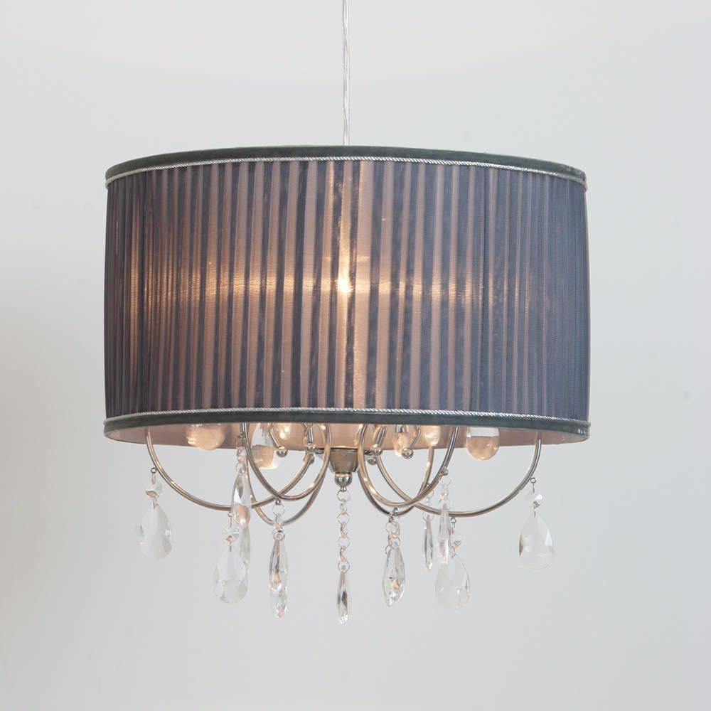 Lamour easy fit shade grey from litecraft lamour grey pleated shade easy fit non electric chandelier aloadofball Choice Image