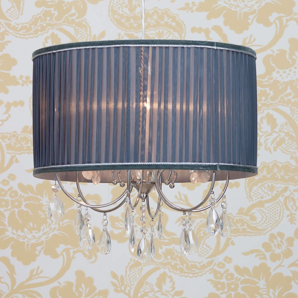 Lamour easy fit shade grey from litecraft shabby chic ceiling light shades aloadofball Image collections