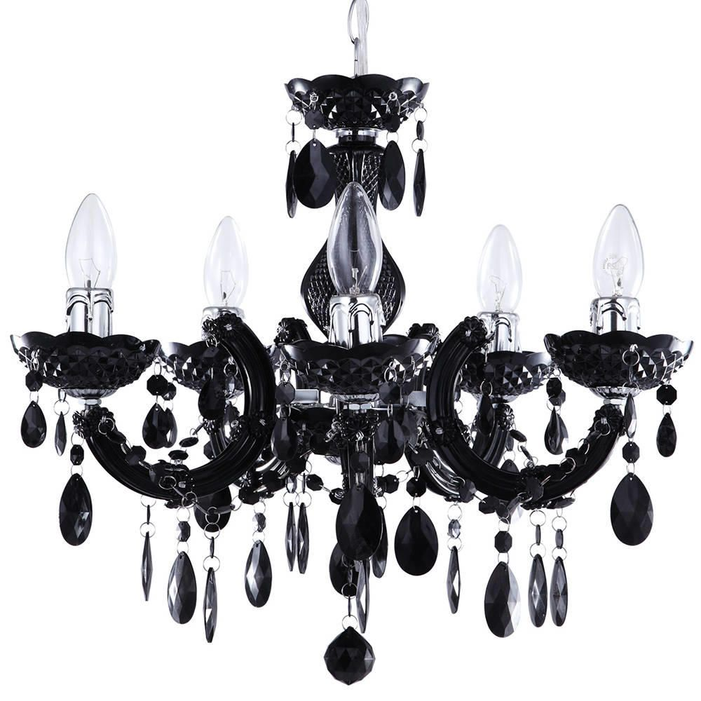 Marie Therese Chandelier 5 Light Dual Mount  Black