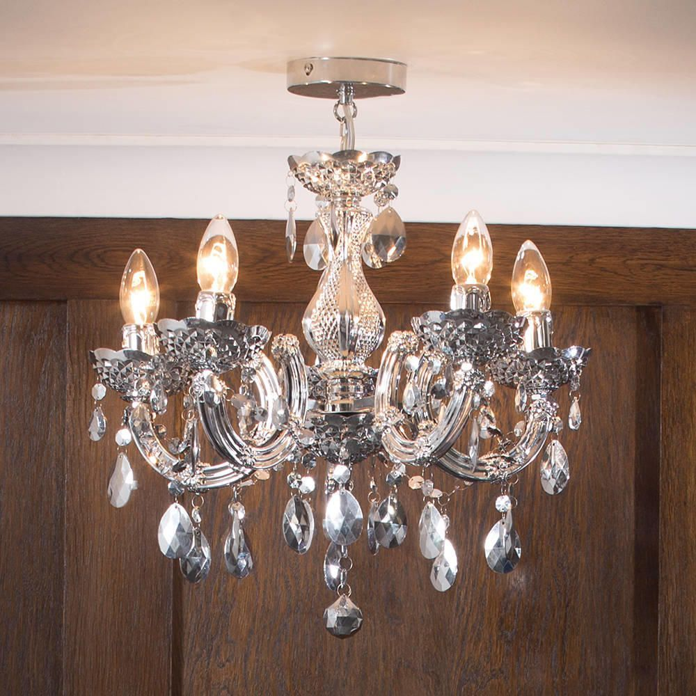 Marie Therese Chandelier 5 Light Dual Mount Silver From
