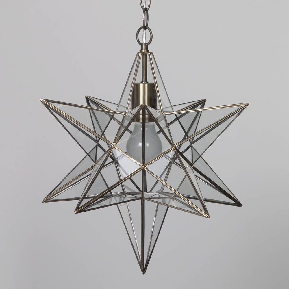 1 lt star hanging pendant in antique brass decorative for Chic hanging lighting ideas lamp