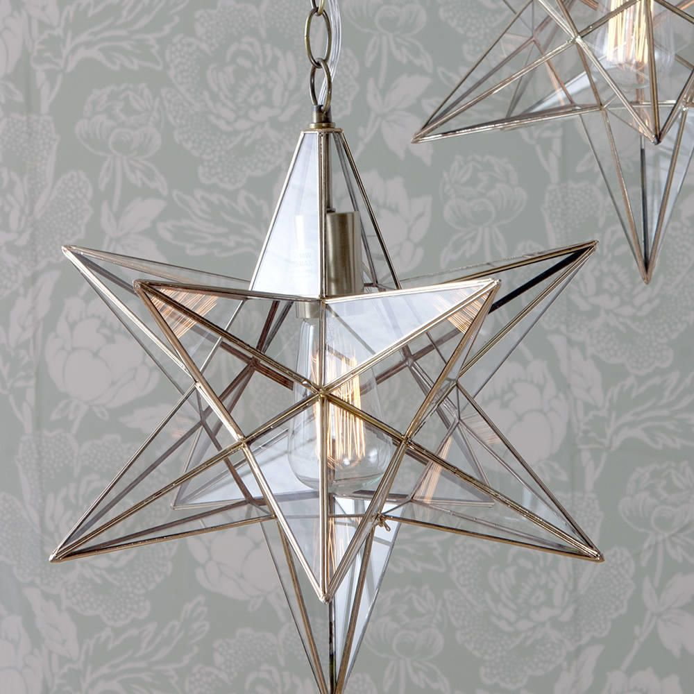 1 Lt Star Hanging Pendant In Antique Brass Decorative