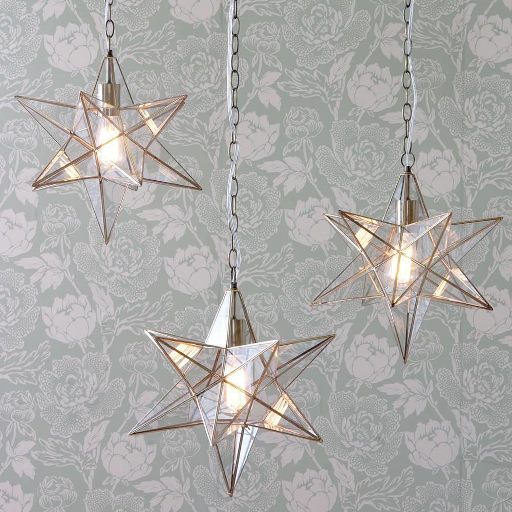 Star Pendant Light Glass Star Pendant In Gold Foyer