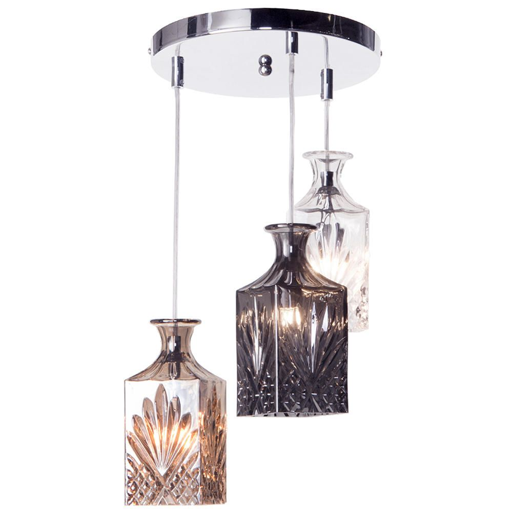 Pendant Light With Glass Shades  Chrome Fast&free Delivery *