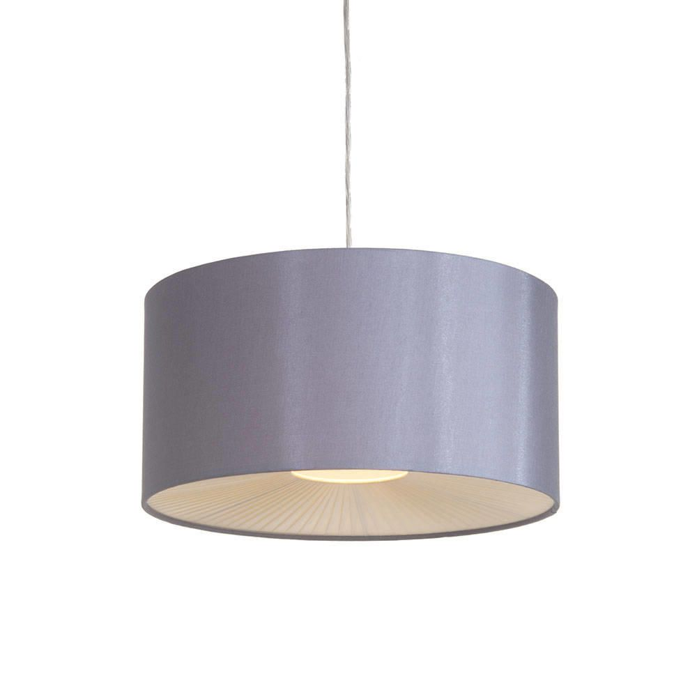 Small Ribbon Easy To Fit Ceiling Shade Drum Grey From