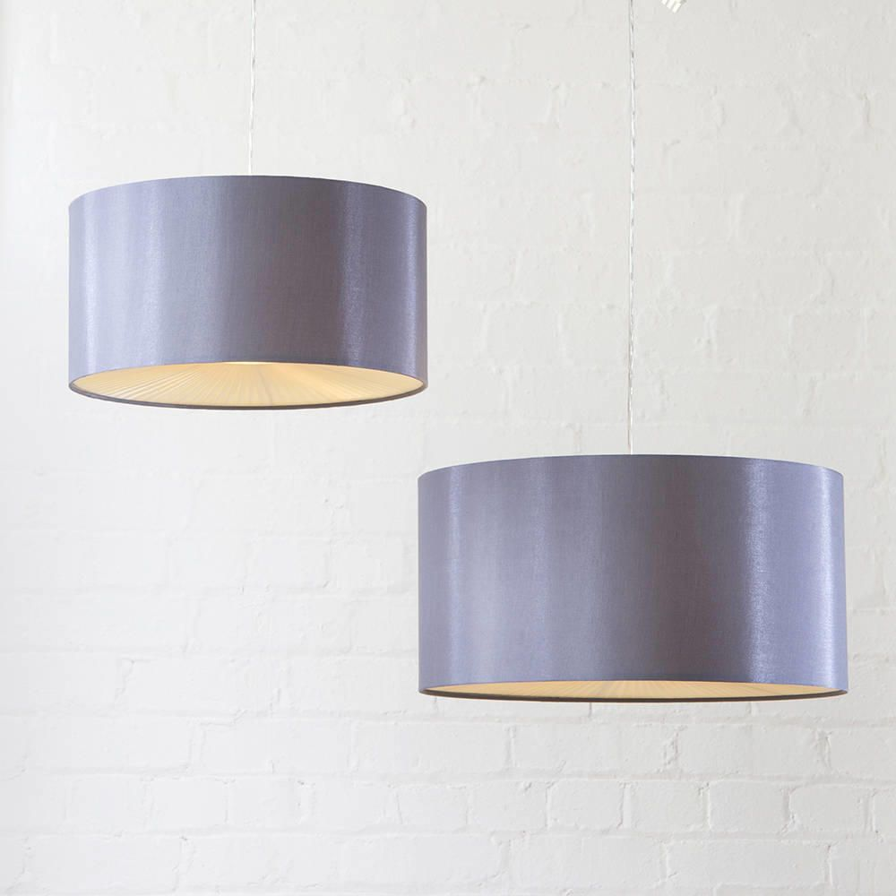 Large Ribbon Easy To Fit Ceiling Shade Drum Grey From