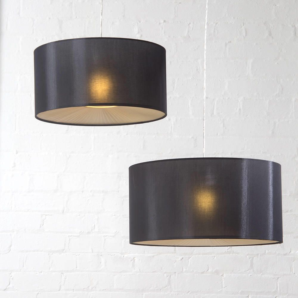 Large Ribbon Drum Easy To Fit Ceiling Shade Black From