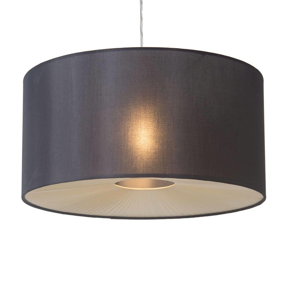 Large Ribbon Easy to Fit Ceiling Shade Drum Black