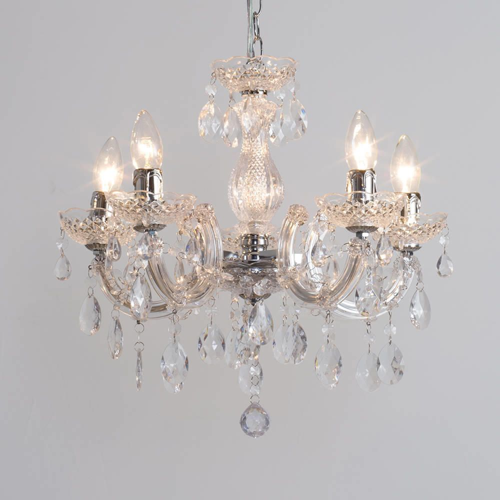 Marie Therese Chandelier 5 Light - Chrome