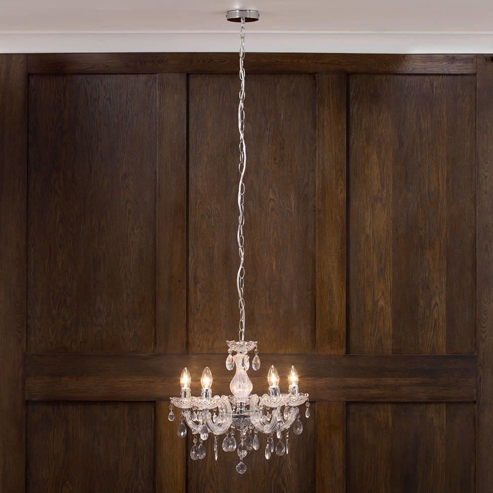 Marie Therese Chandelier 5 Light Dual Mount Chrome From