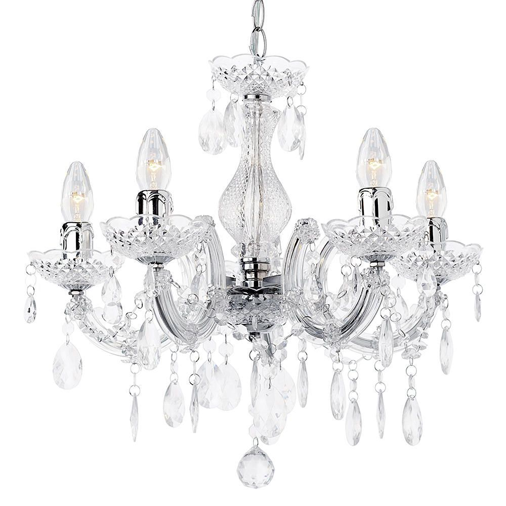 Marie Therese Chandelier 5 Light Dual Mount  Chrome