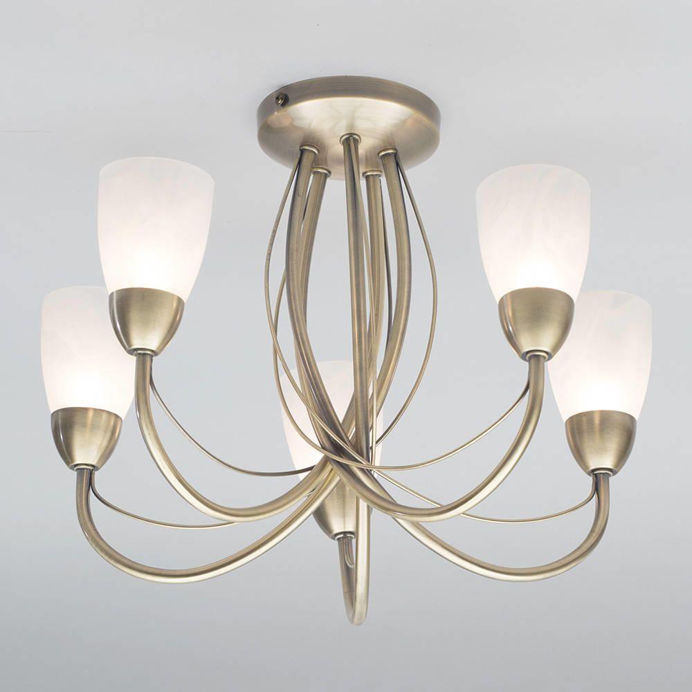 elegant 5 arm ceiling light semiflush fitting