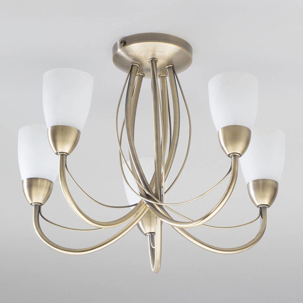 Madrid 5 light semi flush ceiling light antique brass from litecraft elegant ceiling light for contemporary interior mozeypictures Gallery