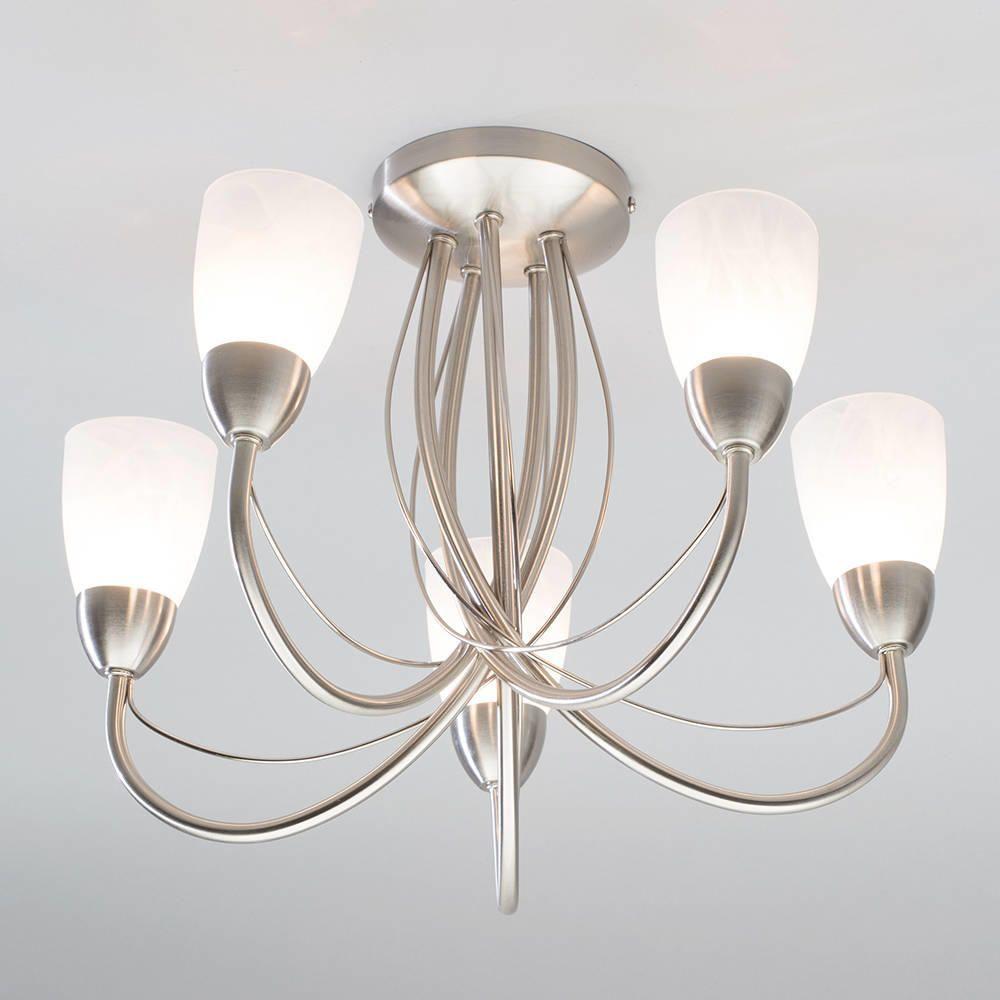 Madrid semi flush ceiling light 5 light satin nickel from litecraft 5 light curved arm ceiling light aloadofball Image collections