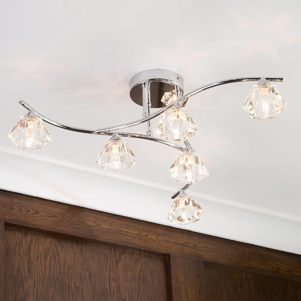Jewel 6 Light Semi Flush Ceiling Light