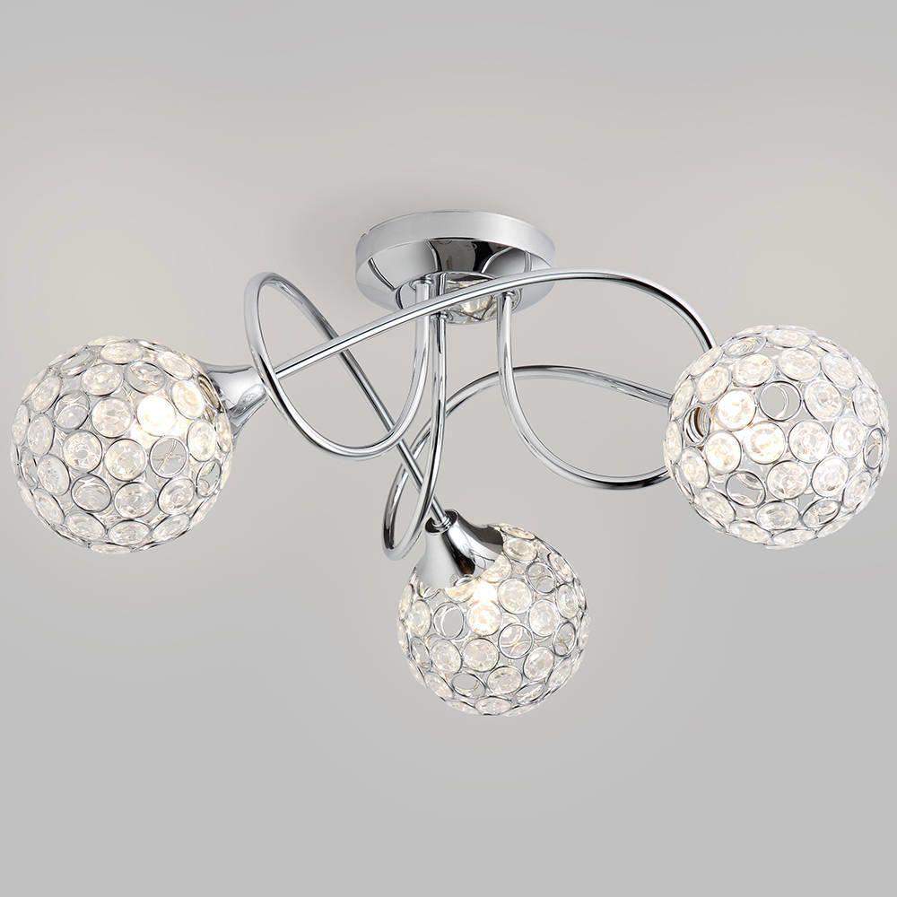 Semi Flush Ceiling Light Gem Ball 3 Light Chrome