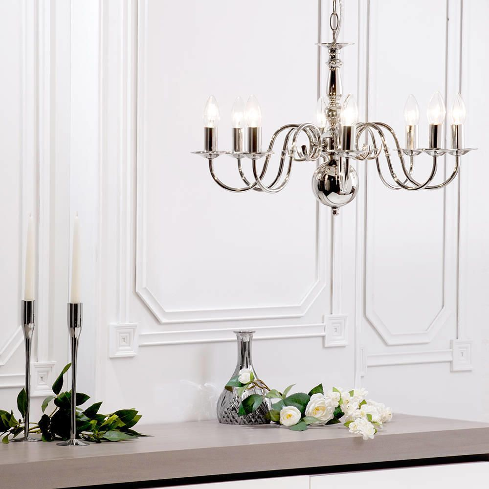 Lyon Flemish 8 Light Chandelier Polished Nickel From