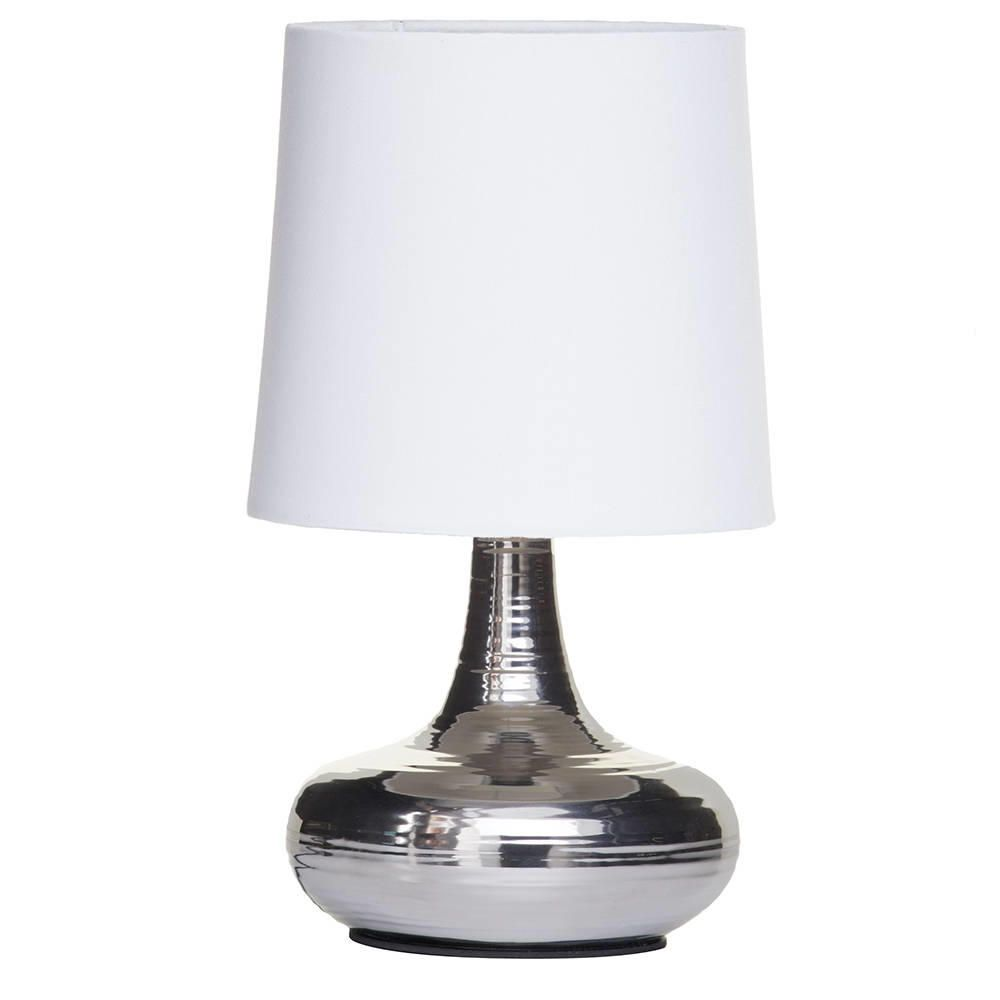 Mini Scratched Table Lamp with White Shade - Chrome